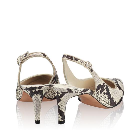 Pantofi Eleganti Dama Candy Snake Skin Alb Negru F3