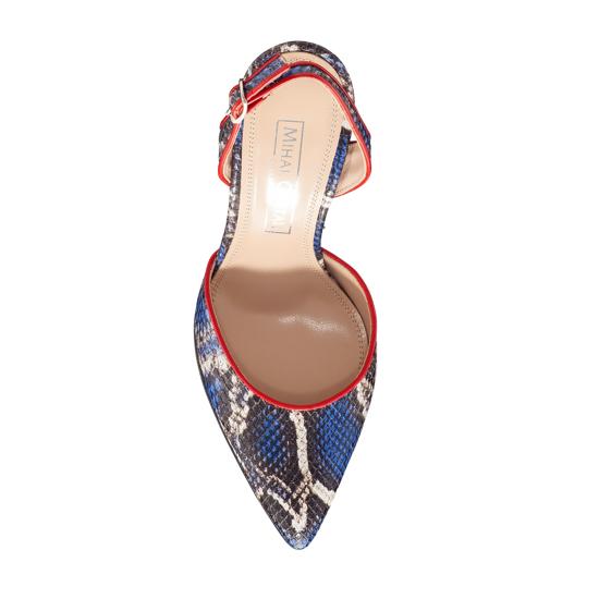 Pantofi Decupati Ela Snake Skin Blue F4